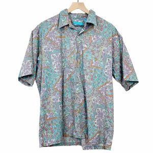 Tori Richard Patterned Shirt Blue Purple Large Short Sleeve Collar Button Down